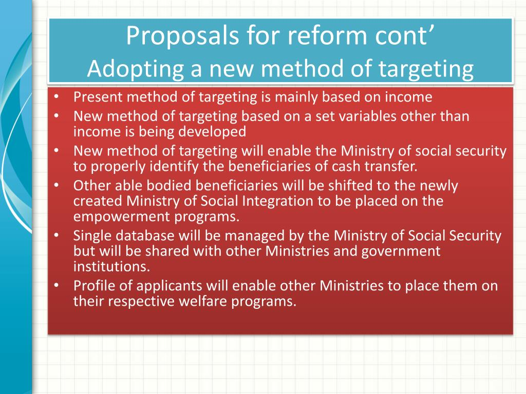 Proposals for reform cont'