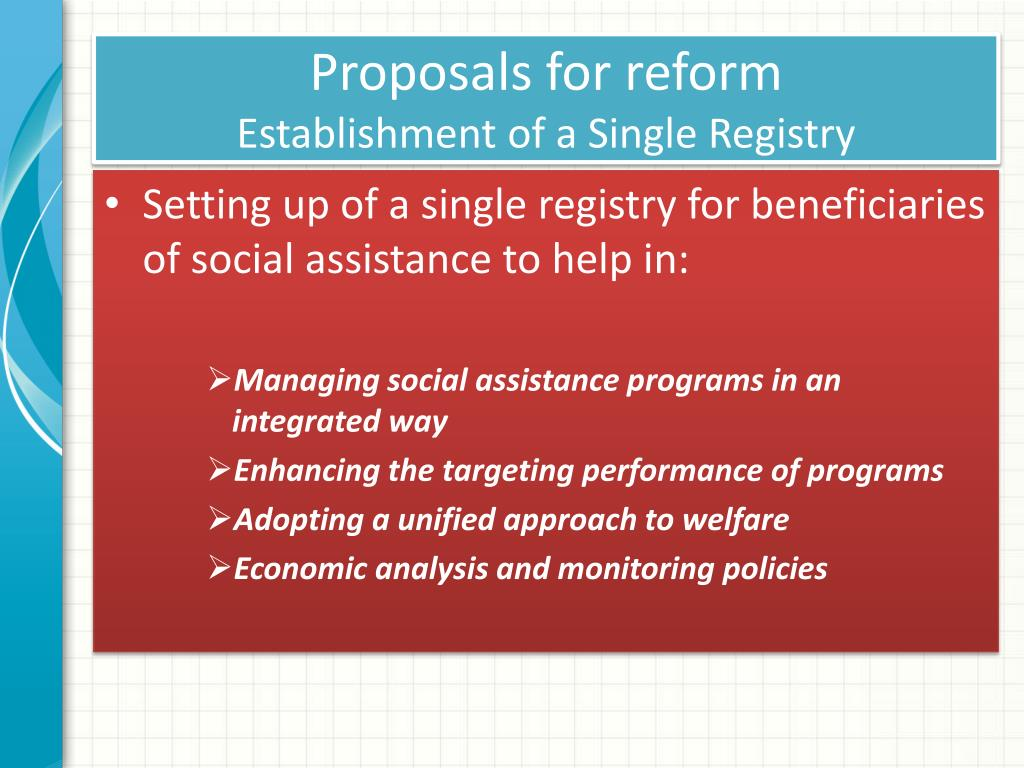 Proposals for reform