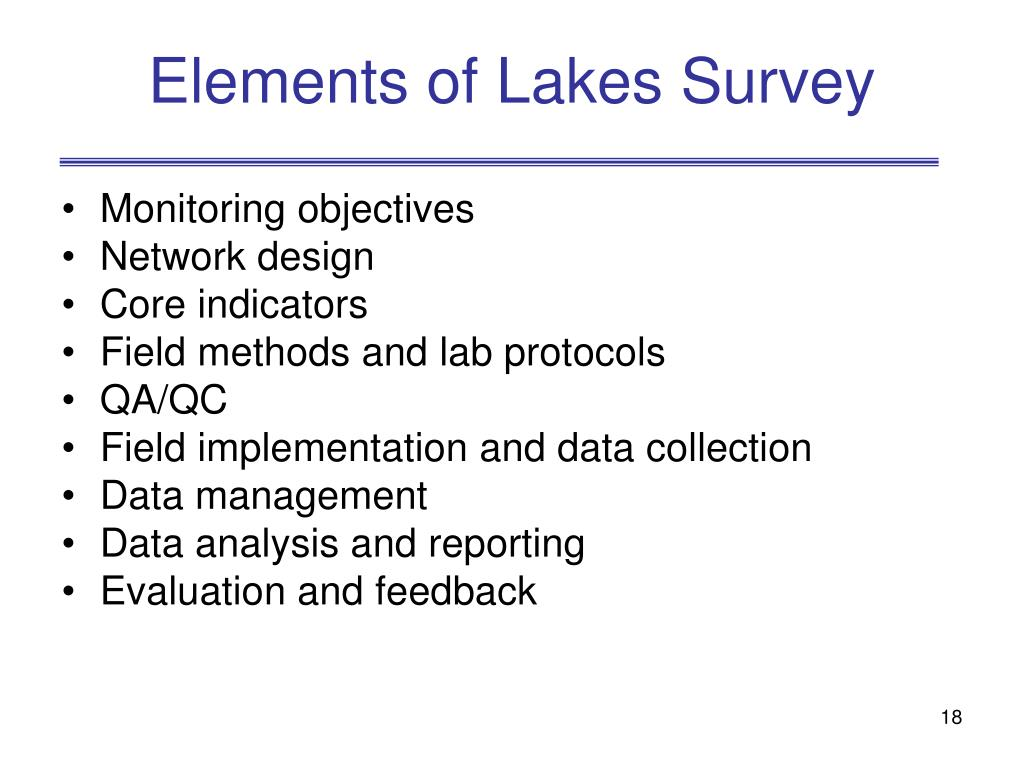 Elements of Lakes Survey