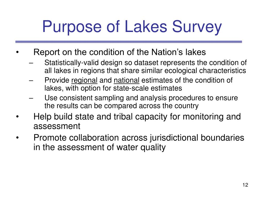 Purpose of Lakes Survey