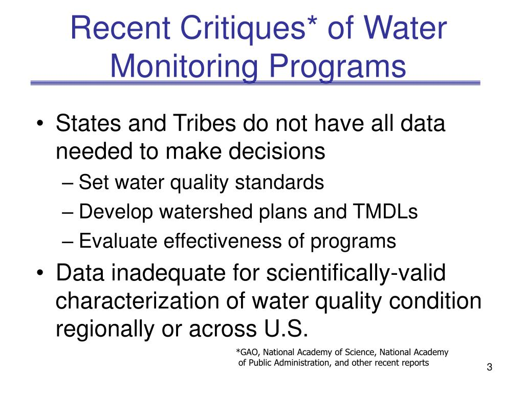 Recent Critiques* of Water Monitoring Programs