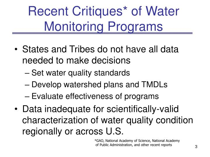 Recent critiques of water monitoring programs