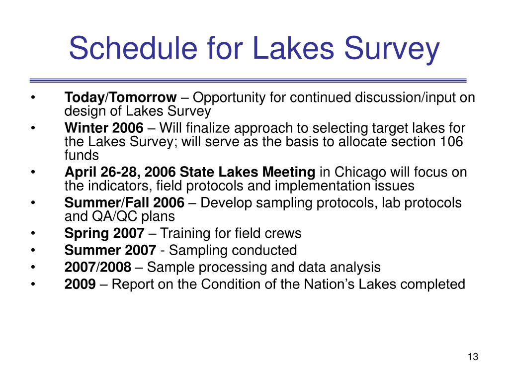 Schedule for Lakes Survey