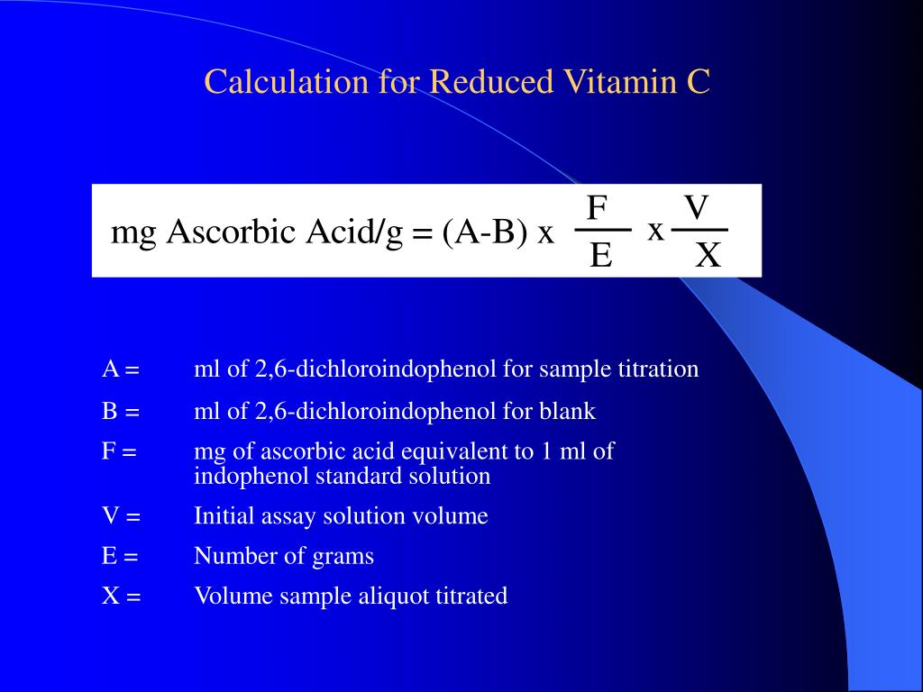 Calculation for Reduced Vitamin C