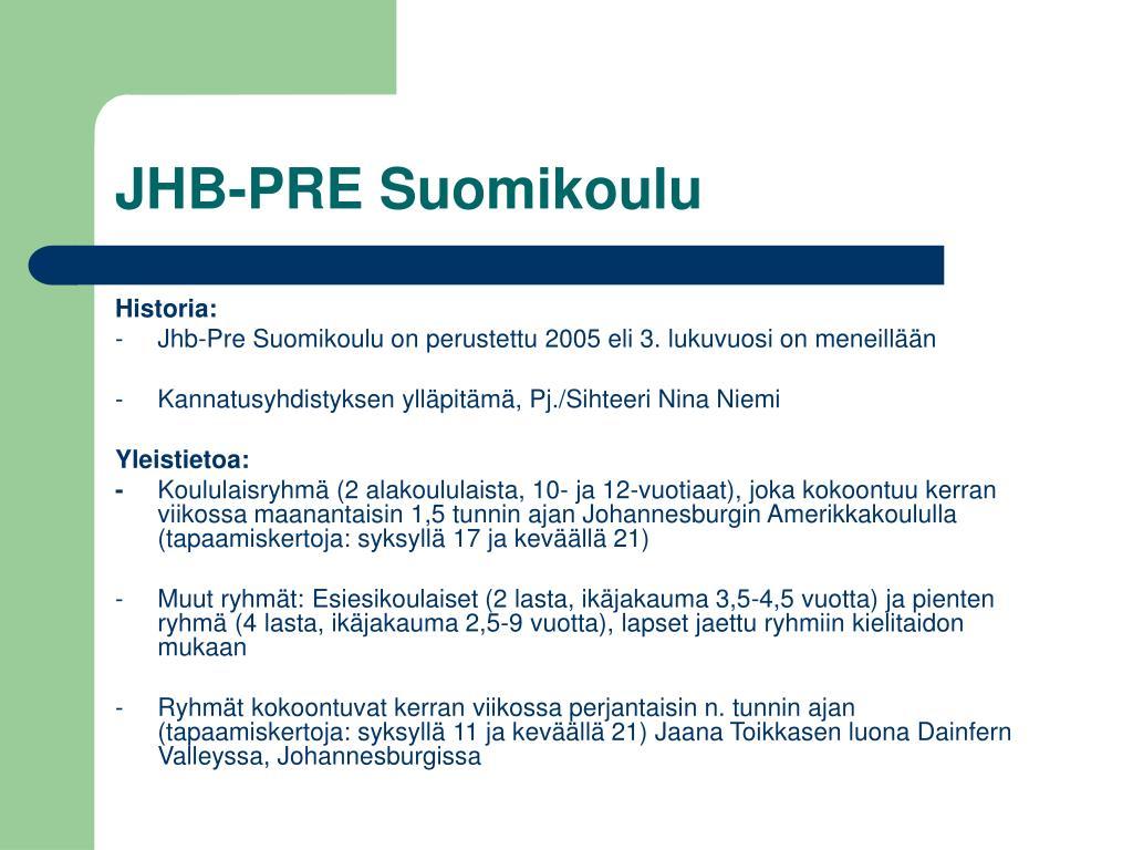 JHB-PRE Suomikoulu