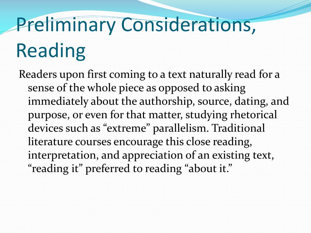 Preliminary Considerations, Reading
