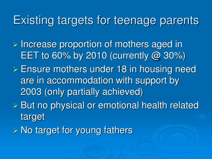 Existing targets for teenage parents