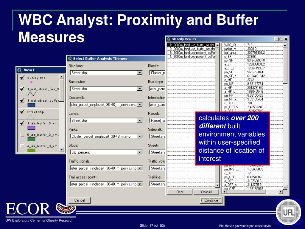 WBC Analyst: Proximity and Buffer Measures