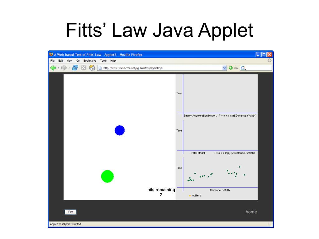 Fitts' Law Java Applet