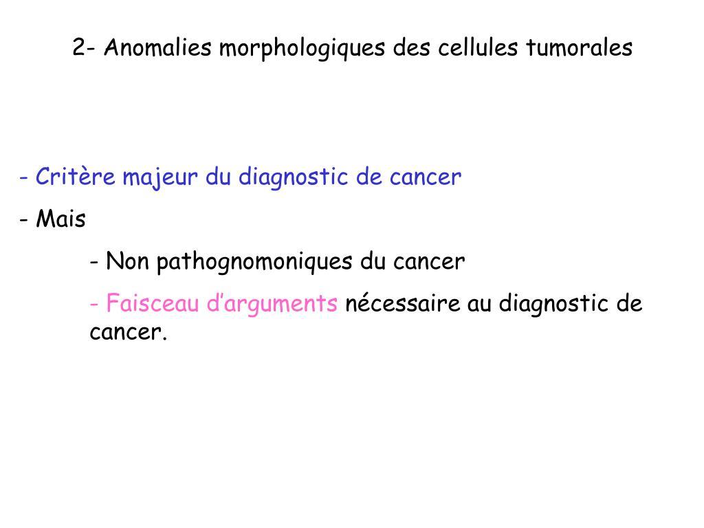 2- Anomalies morphologiques des cellules tumorales