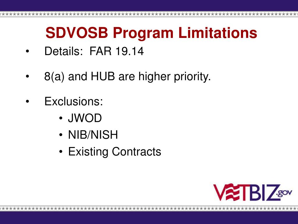 SDVOSB Program Limitations