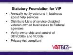 statutory foundation for vip