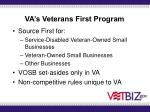 va s veterans first program