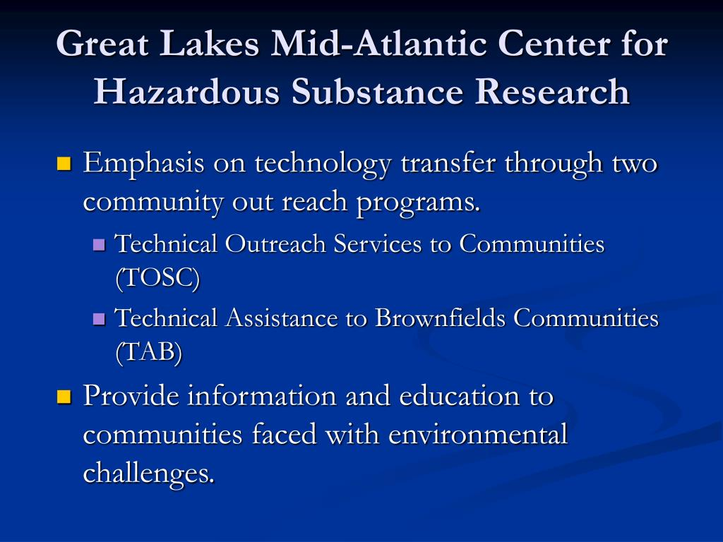 Great Lakes Mid-Atlantic Center for Hazardous Substance Research