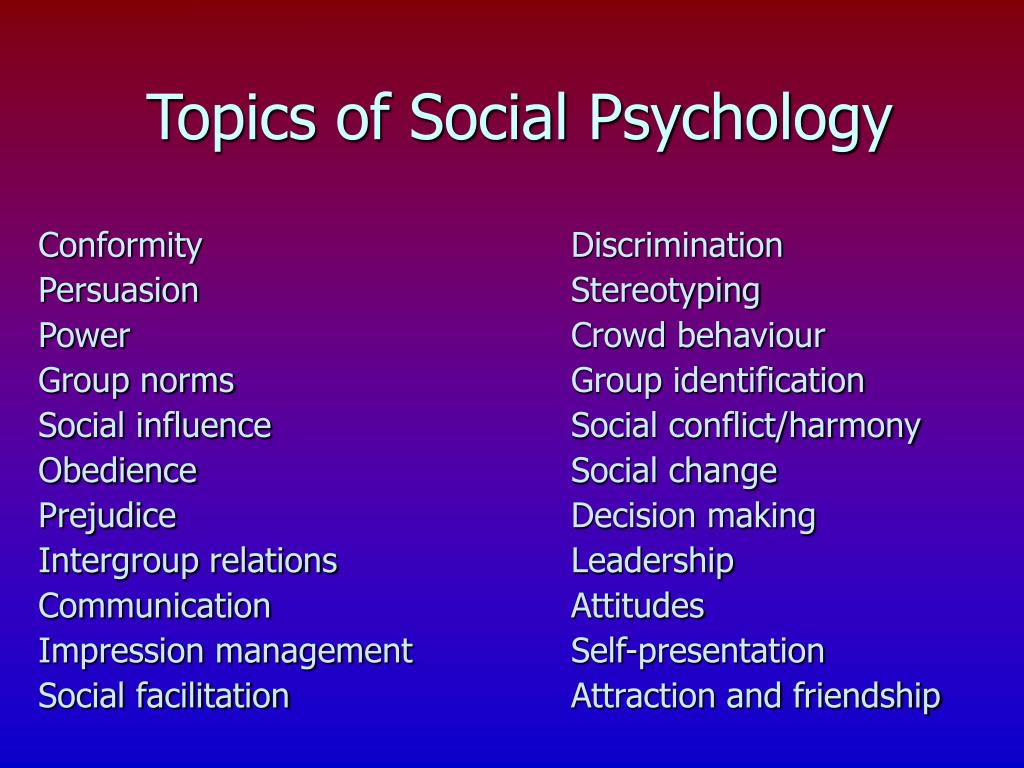 Topics of Social Psychology