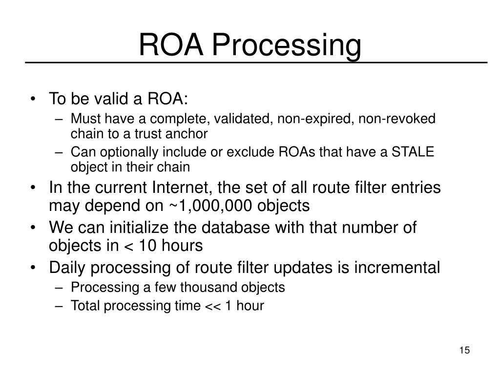ROA Processing