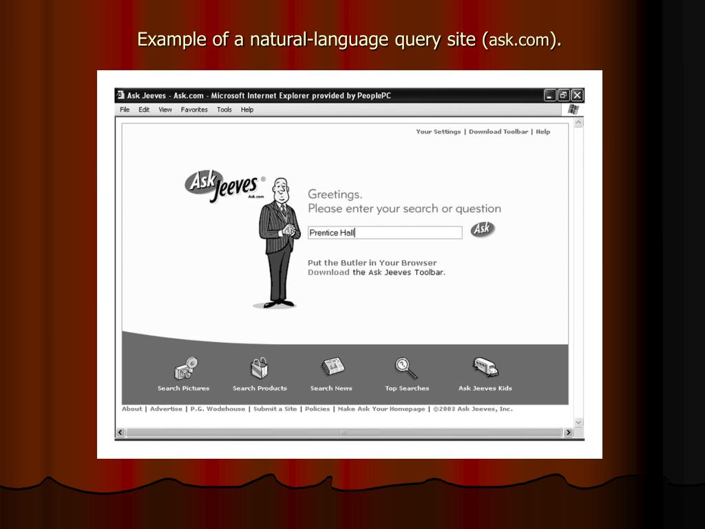 Example of a natural-language query site (