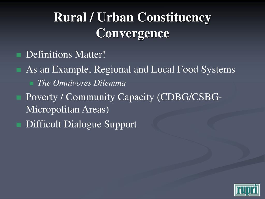 Rural / Urban Constituency Convergence