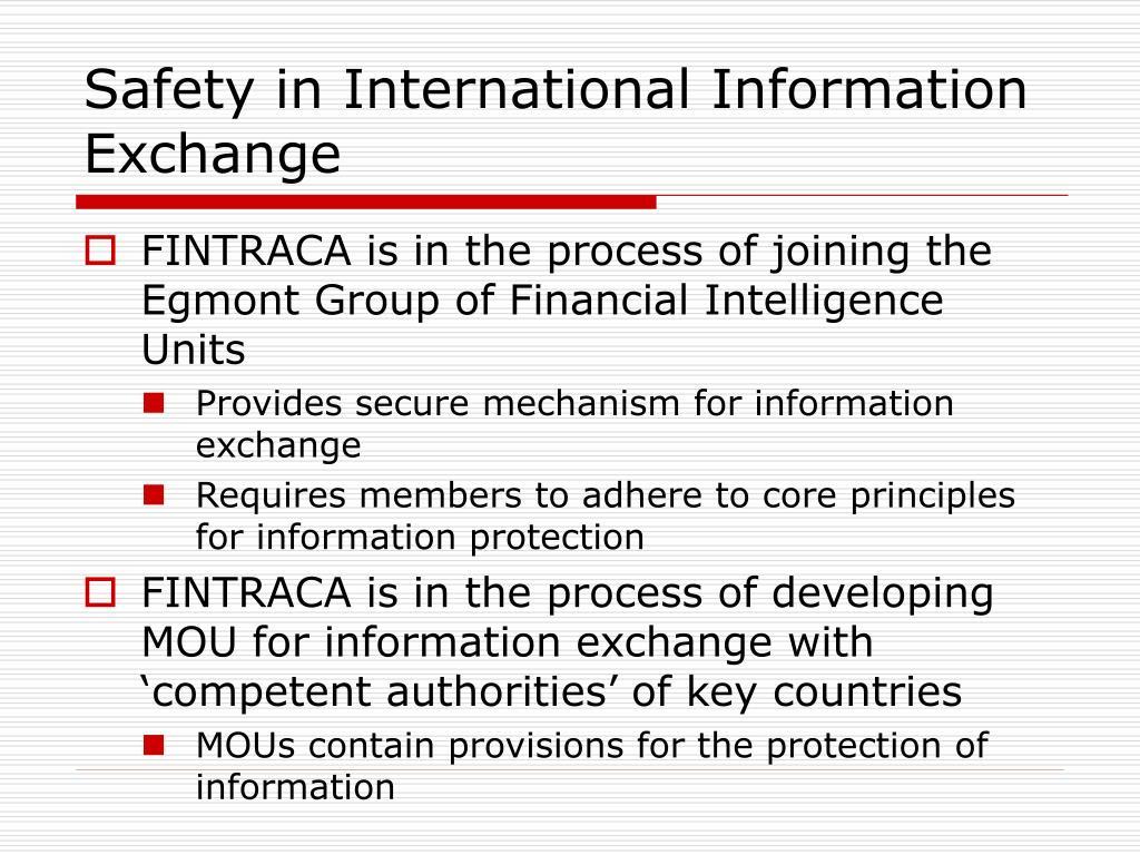 Safety in International Information Exchange