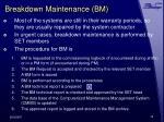 breakdown maintenance bm