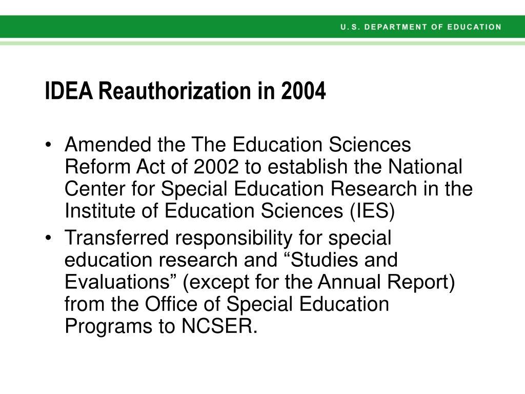 IDEA Reauthorization in 2004
