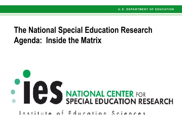 The national special education research agenda inside the matrix