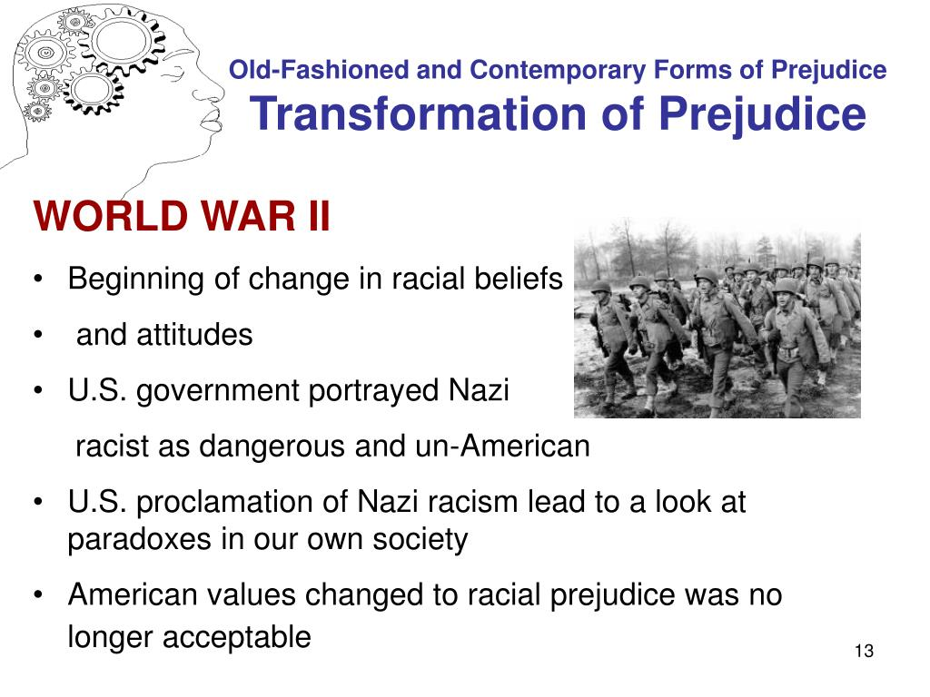 psychology of prejudice Provides an examination of psychological theory and research related to prejudice and discrimination from the perspectives of both the holders and targets of prejudice includes individual and small group exercises to provide experiential learning course prerequisites: because this course (psyc 191 .