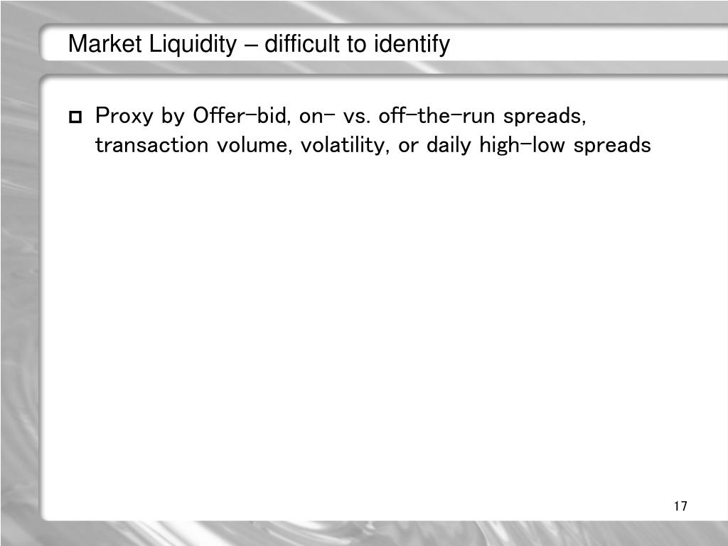 Market Liquidity – difficult to identify