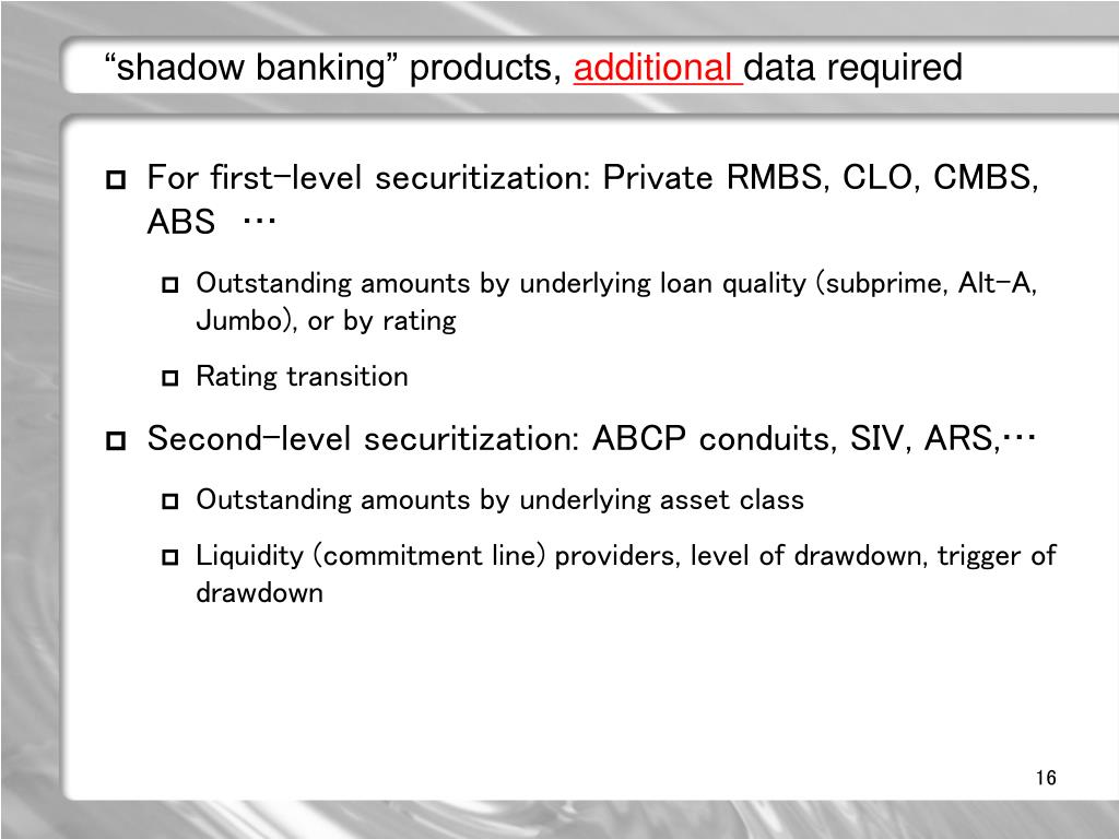 """shadow banking"" products,"