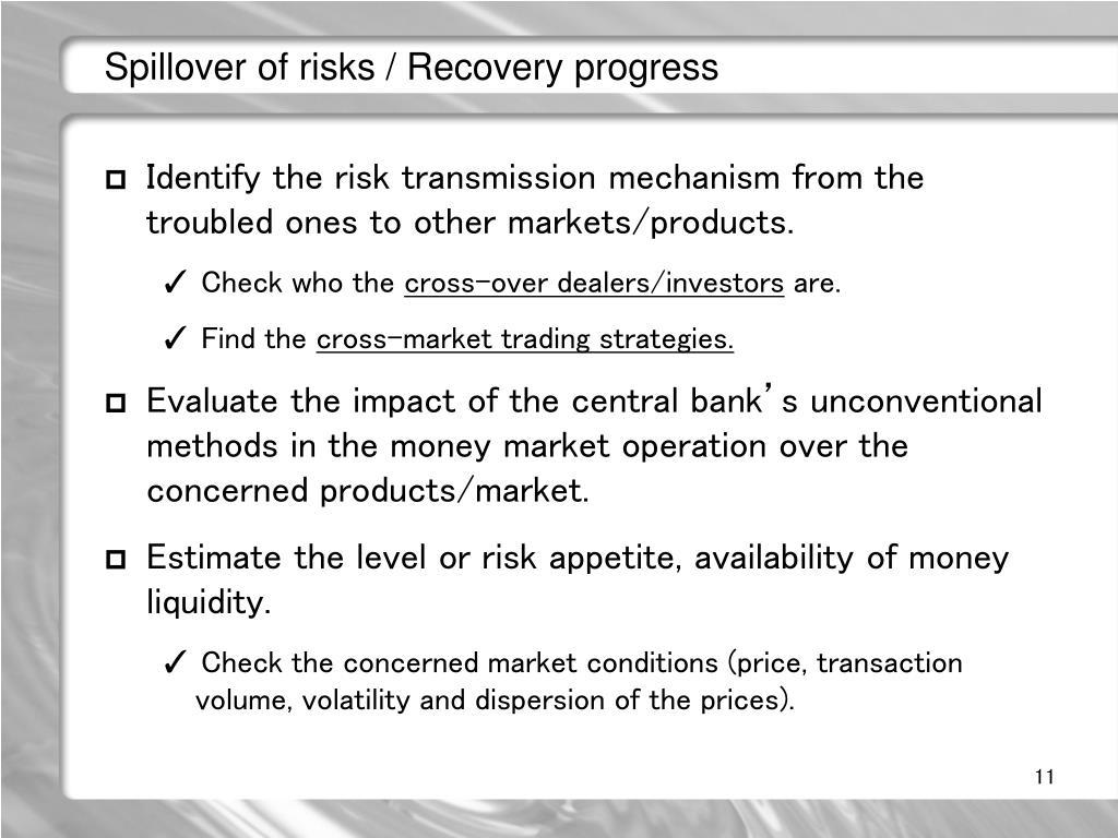 Spillover of risks / Recovery progress