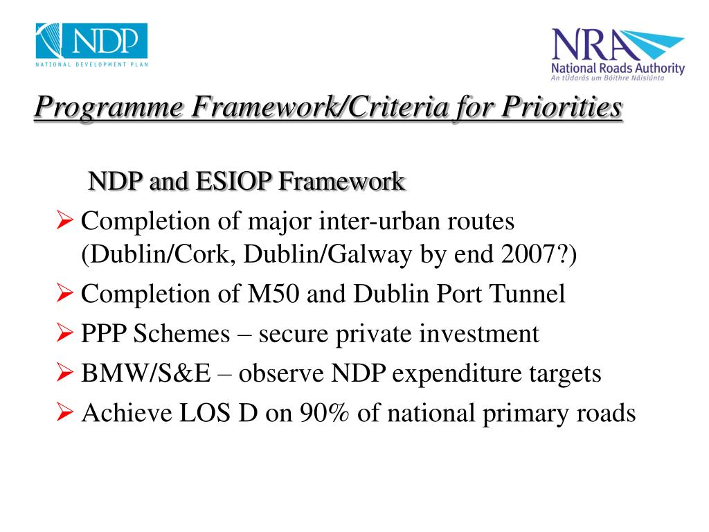 Programme Framework/Criteria for Priorities