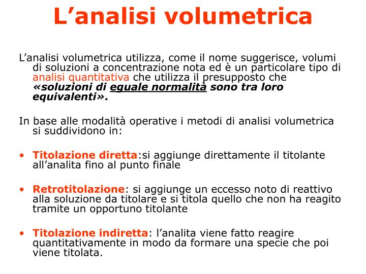 L analisi volumetrica2