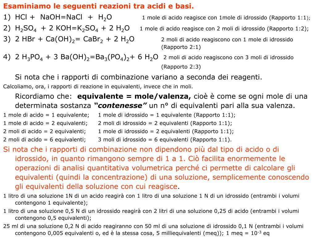 Esaminiamo le seguenti reazioni tra acidi e basi.