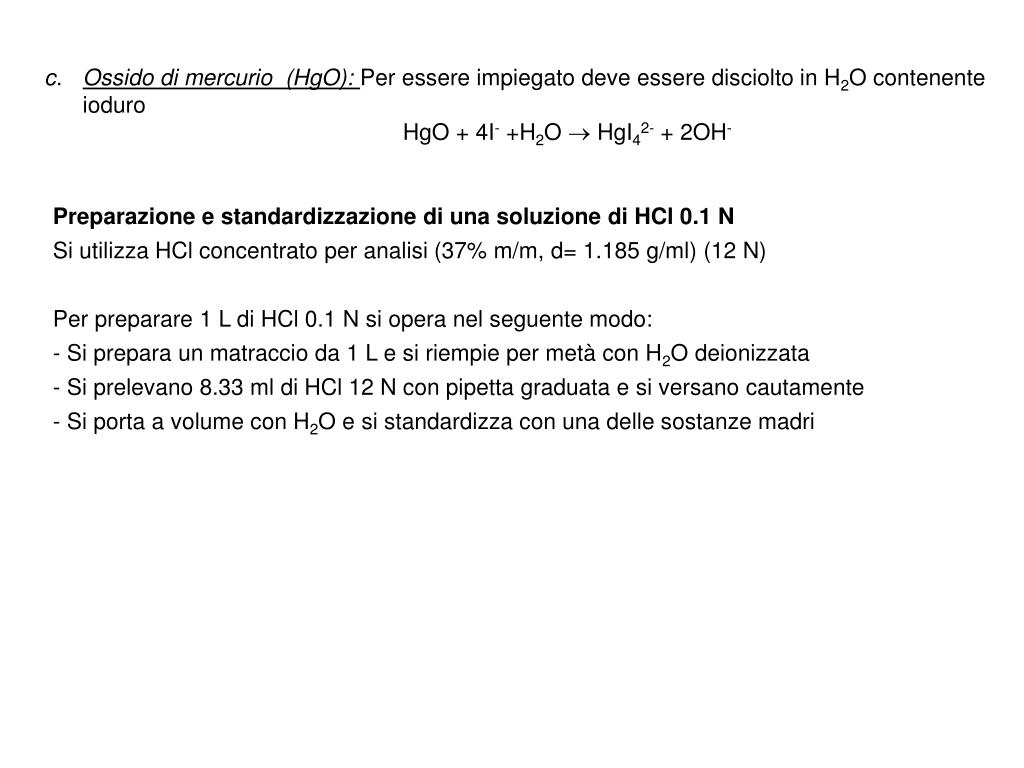 Ossido di mercurio  (HgO):