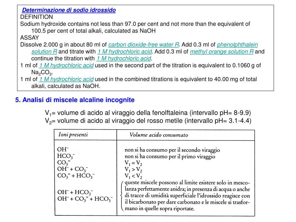 Determinazione di sodio idrossido