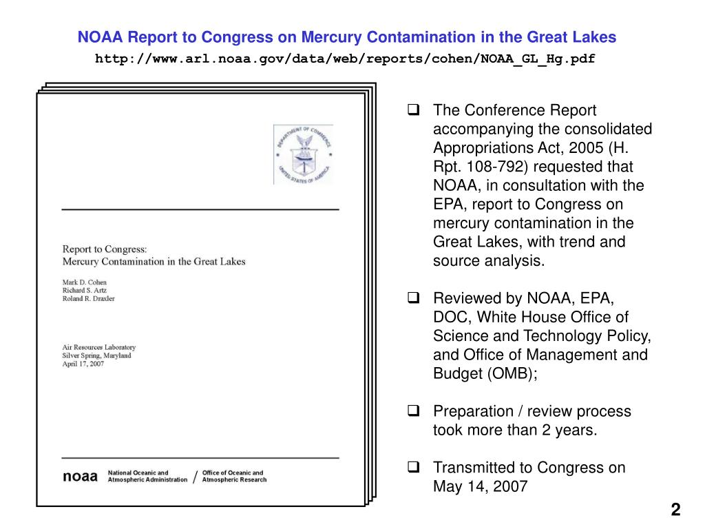 NOAA Report to Congress on Mercury Contamination in the Great Lakes