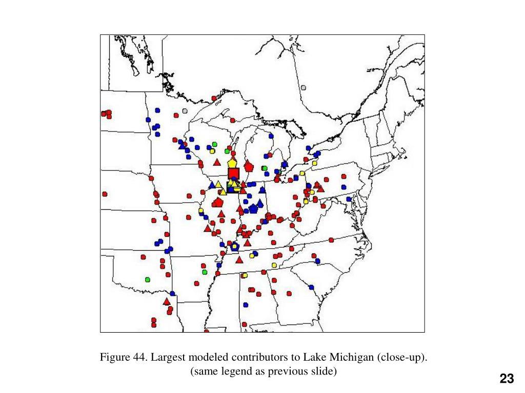 Figure 44. Largest modeled contributors to Lake Michigan (close-up).