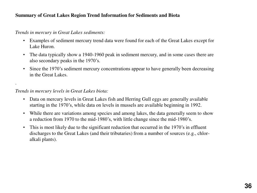 Summary of Great Lakes Region Trend Information for Sediments and Biota