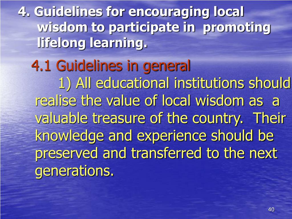 4. Guidelines for encouraging local