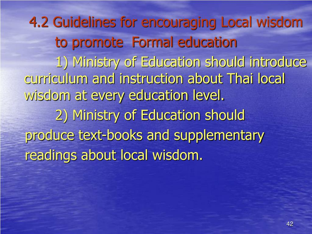 4.2 Guidelines for encouraging Local wisdom