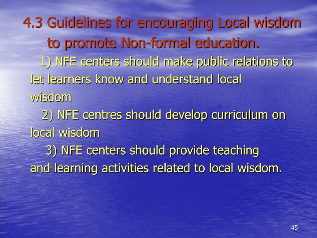 4.3 Guidelines for encouraging Local wisdom