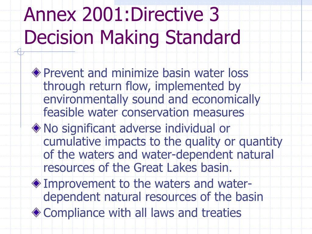 Annex 2001:Directive 3 Decision Making Standard
