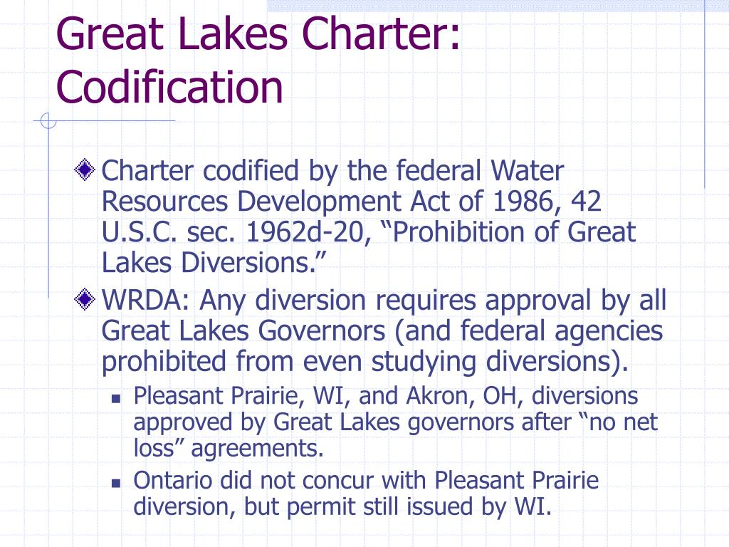 Great Lakes Charter: Codification