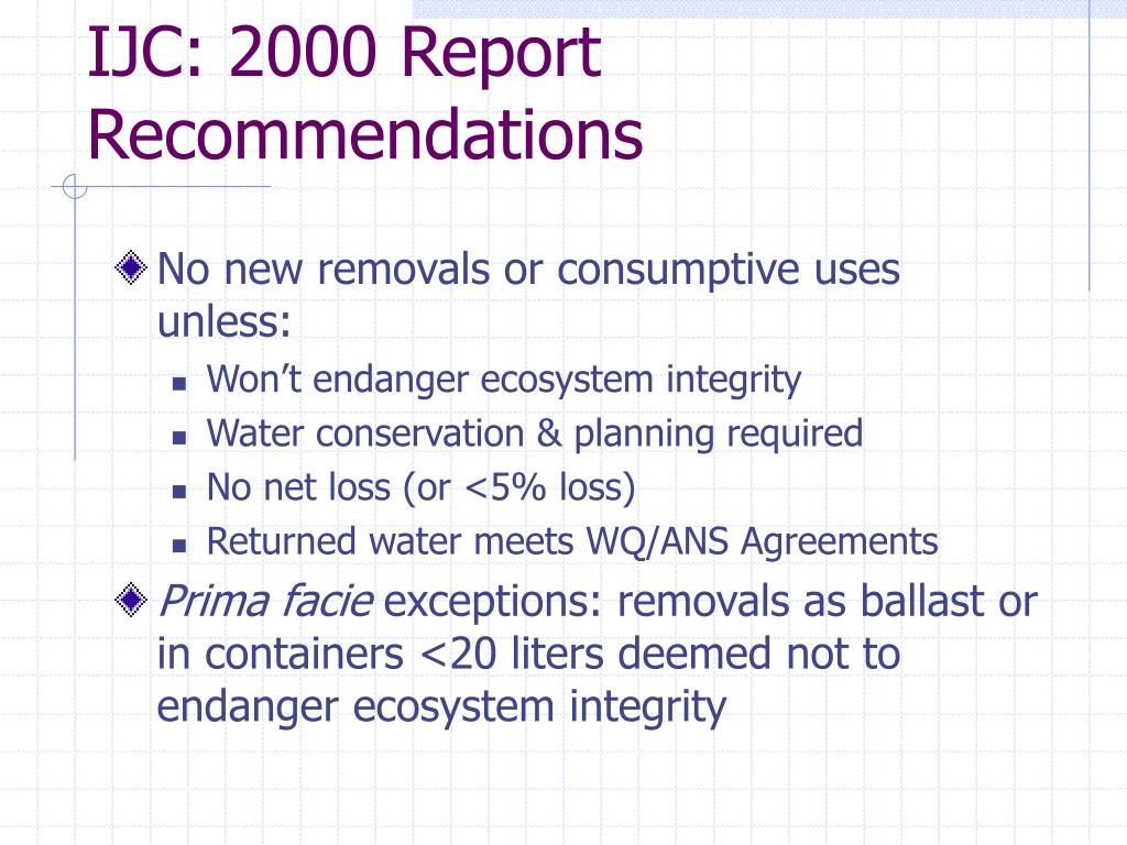 IJC: 2000 Report Recommendations