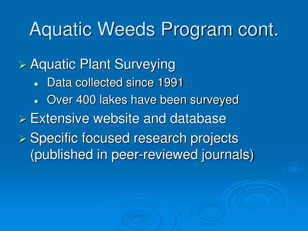 Aquatic Weeds Program cont.