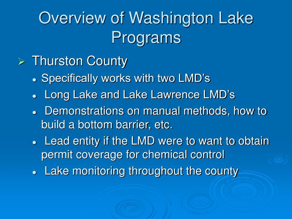 Overview of Washington Lake Programs