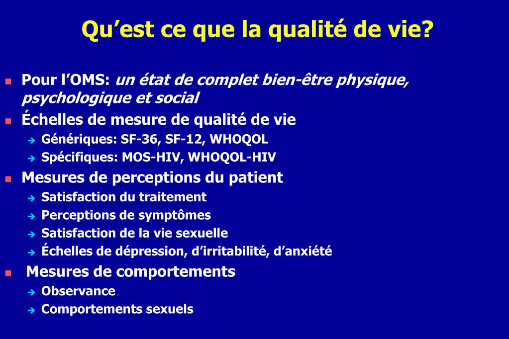 Ppt la qualit de vie des patients infect s par le vih for Qu est ce que le minimalisme