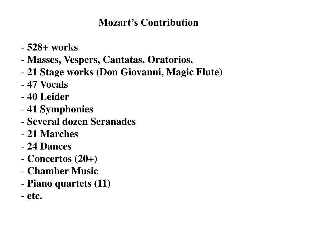 Mozart's Contribution