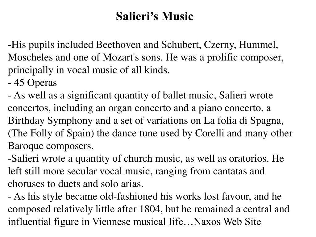 Salieri's Music