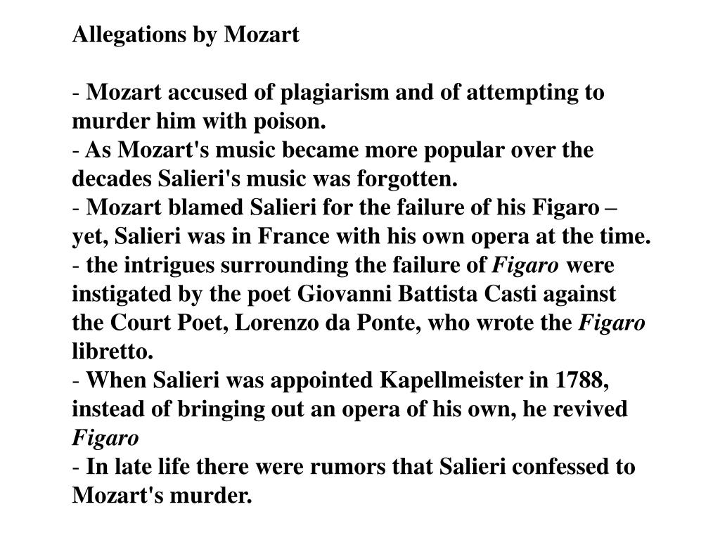 Allegations by Mozart